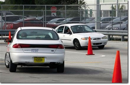 Students practice driving